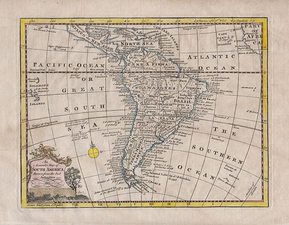William Guthrie., An Accurate Map of South America Drawn from the best Authorities, antique map, old maps