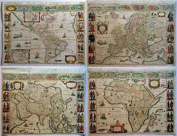 D'AVITY, P. - [Set of 4 continents] America Noviter Delineata, Asia Recens Summa Cura Delineata, Africa Nova Tabula and Nova Europae Descriptio