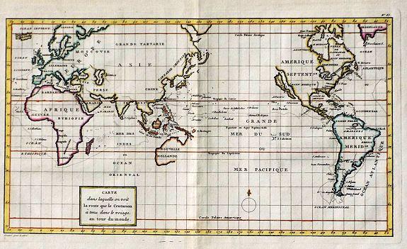 ANSON, George. - Carte dans laquelle on voit la route que le Centurion a tenu dans le voiage au tour du monde.