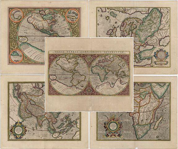 MERCATOR, G.  - Orbis Terrae Compendiosa Descriptio... ( and) America...(and) Europa ...(and) Africa ... (and) Asia ...