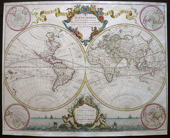 De L'Isle – COVENS AND MORTIER. - Mappe-Monde dressé sur les observations de.. par M.de L'Isle