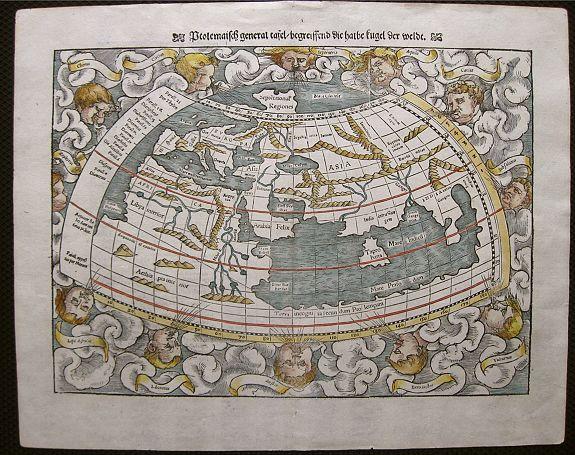 MÜNSTER, S. - Ptolemaisch General Tafel Begreissend die halbe Rugel der Weldt