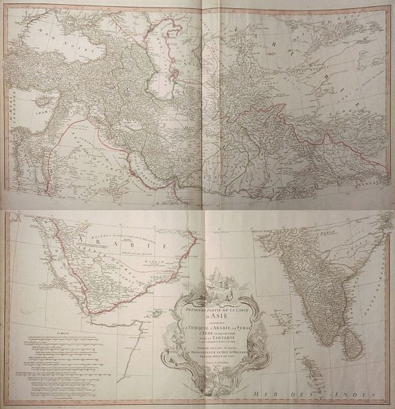 D'ANVILLE. -  Premiere Partie de la Carte d´Asie Contenant la Turquie, l´Arabie, la Perse, l´Inde en deca du Gange et de la Tartarie.