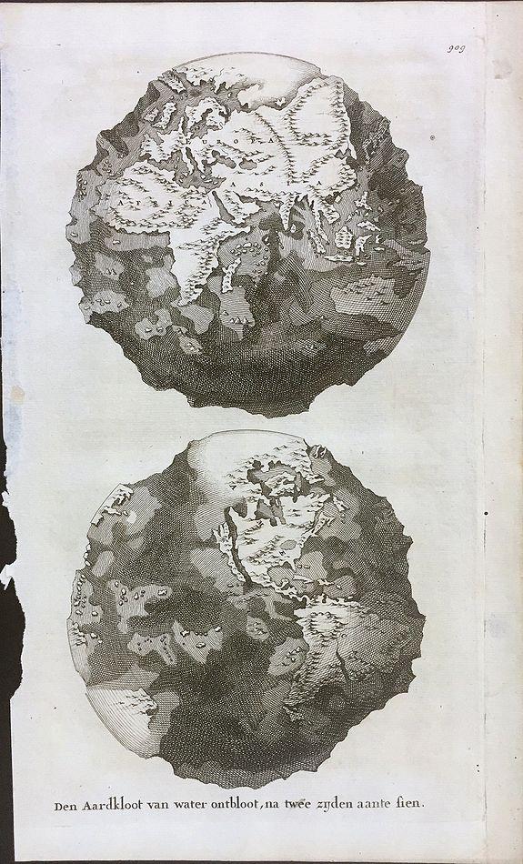 GOEREE, W. - Den Aardkloot van water ontbloot, na twee zijden aante sien