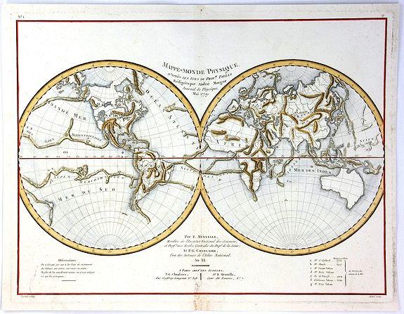 TARDIEU, A. - Mappe-Monde Physique d'Apres les Vues du Profr. Pallas Redigees par Andre Mongez