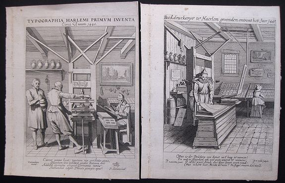 Saenredam, P. - Two famous etchings of a printing office at Haarlem 1440