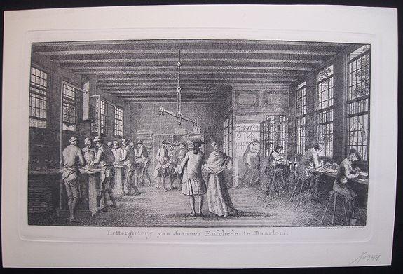 VAN NOORDE, C. - Rare etching of a printing office at Haarlem.