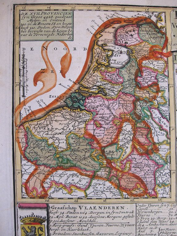 SCHENK, P., Tabula XVII Foederati Belgii Provinciarum (with Leo Belgicus inset map), antique map, old maps