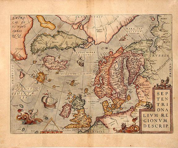 ORTELIUS, A. - SEPTENTRIONALIUM REGIONUM DESCRIP, 1598