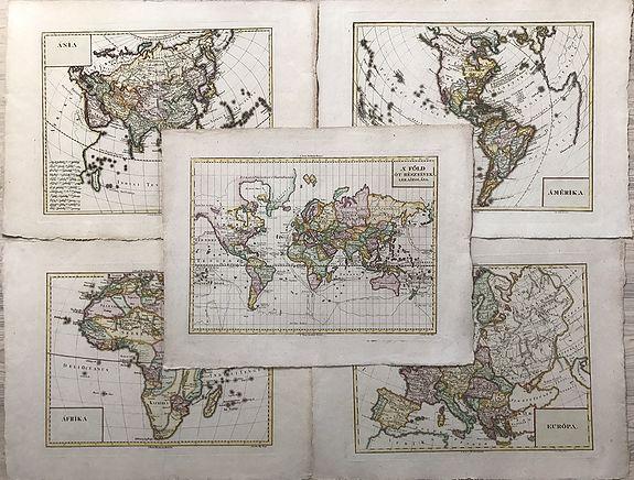 G. Eros / J. Pap  & D. Pethes / E. Dubai - (World Map plus Continents) WORLDMAP - A' FOLD OT RESZEINEK LERAJZOLASA. + AMERIKA. - AFRIKA. - ASIA. - EUROPA.
