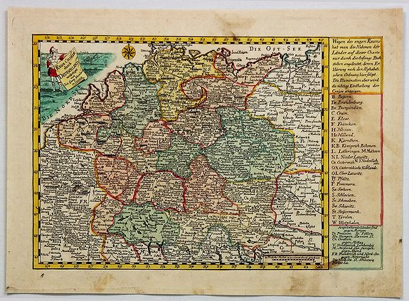 SCHREIBER, J. - Reise Charte Durch Deutschland.