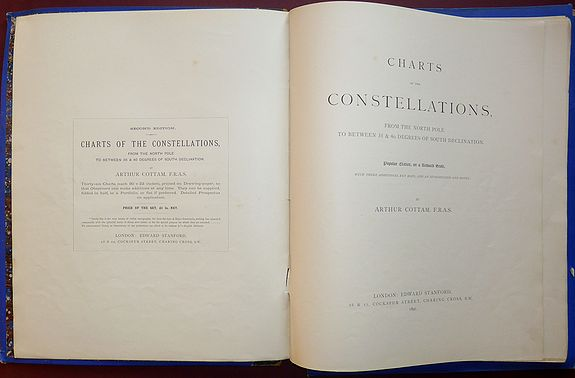 COTTAM, Arthur, Charts of the Constellations, from the North Pole to between 35 & 40 Degrees of South Declination. Popular Edition, on a Reduced Scale With Three Additional key Maps and Introduction and Notes., antique map, old maps