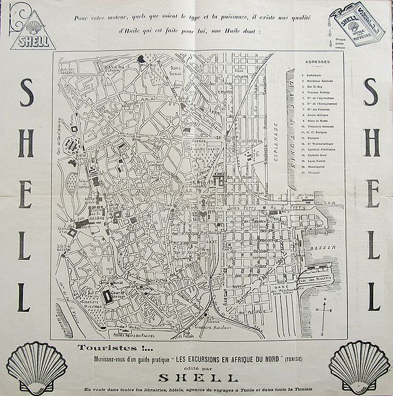 SHELL., Plan de Tunis., antique map, old maps