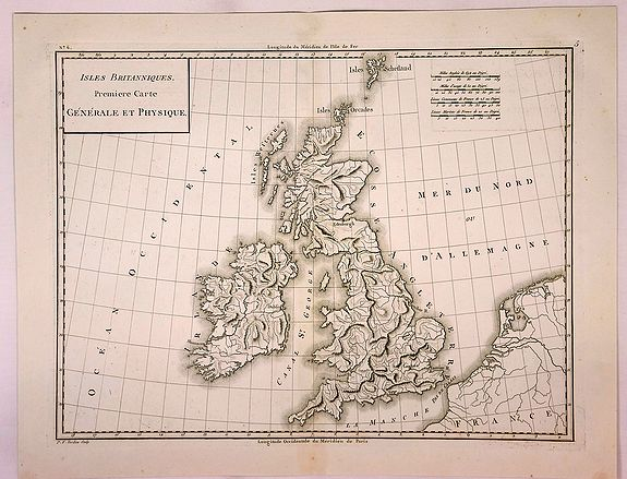 MENTELLE & CHANLAIRE. - Isles Britanniques Premiere Carte Generale et Physique.