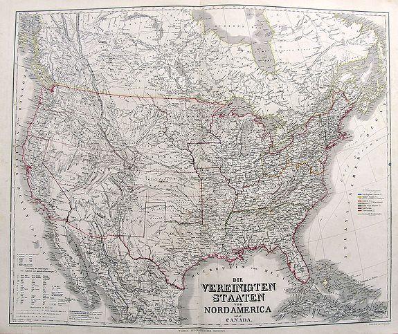 KIEPERT, H. - Die Vereinigten Staaten von Nord America nebst Canada.