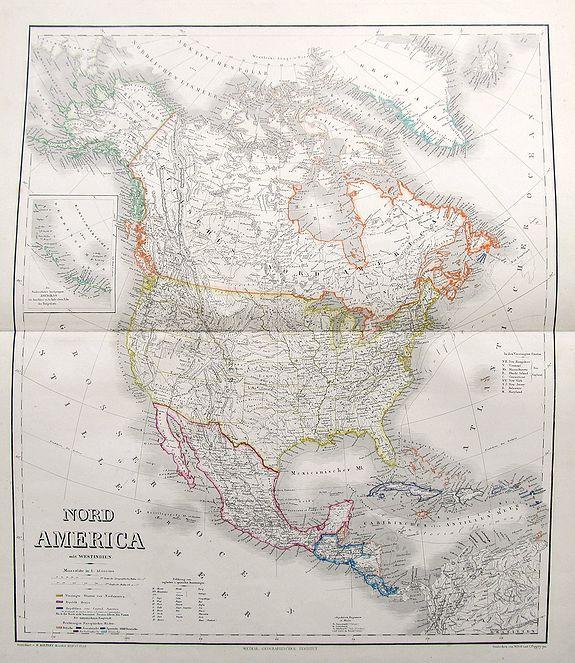 KIEPERT, H. - Nord America mit Westindien.