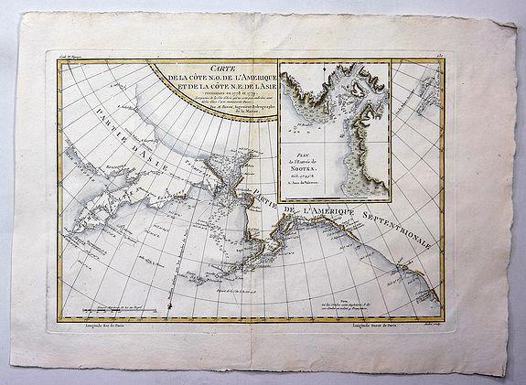 BONNE, R. - Carte de la Cote N.O. de L'Amerique et de la Cote N.E. de l' Asie.