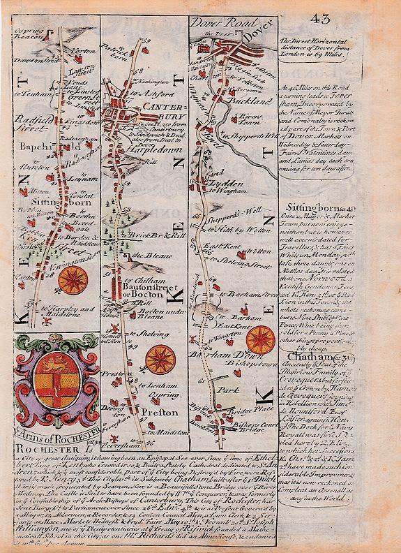 John Owen & Emanuel Bowen.  - Owen & Bowen strip road map Canterbury to Dover + A description of London.