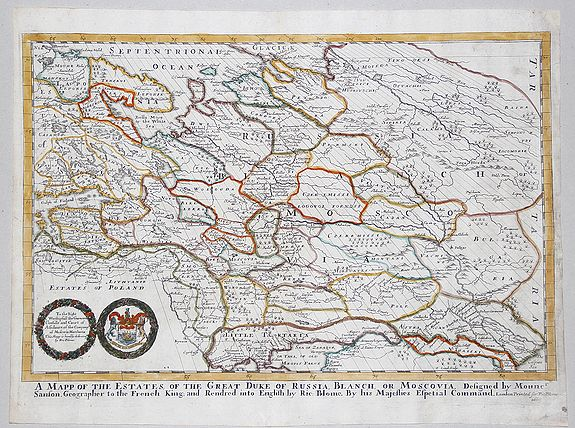 BLOOME, Richard. - A MAPP OF THE ESTATES OF THE GREAT DUKE OF RUSSIA BLANCH or MOSCOVIA, 1669
