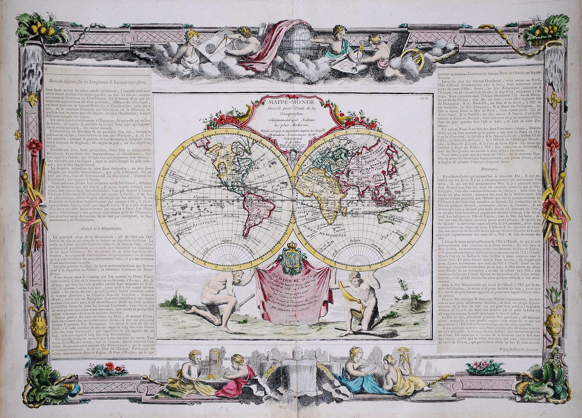 BRION de la TOUR, L. / DESNOS. - Mappe-Monde Dressee pour l'Etude de la Geographie, relativement aux Auteurs les plus Modernes.