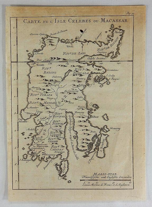 BELLIN, J. - Carte de L'Isle Celebes ou Macassar.