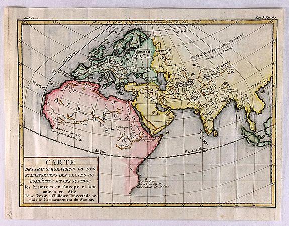 DE LA TOUR, L. - Carte des Transmigrations et des Etablissemens de Celtes ou Comerites et des Scythes.