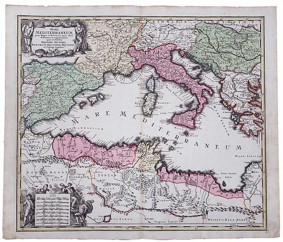 SEUTTER, George Matthäus. - Mare Mediterraneum juxta Regna et Provincias, quas Alluit Distinctum et Cognominatum.
