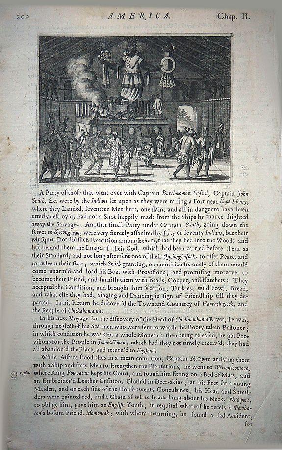 MONTANUS, Arnoldus - [A scene of religious practice in Virginia]