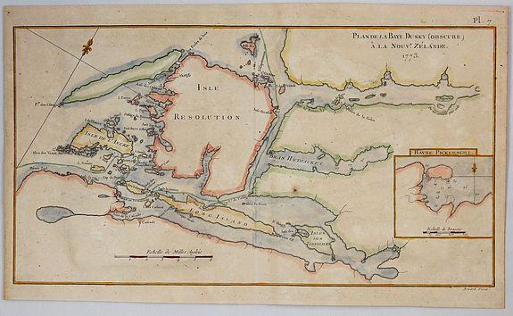 COOK, J. - Plan de la Baye Dusky (Obscure) a la Nouvelle Zelande, 1773.