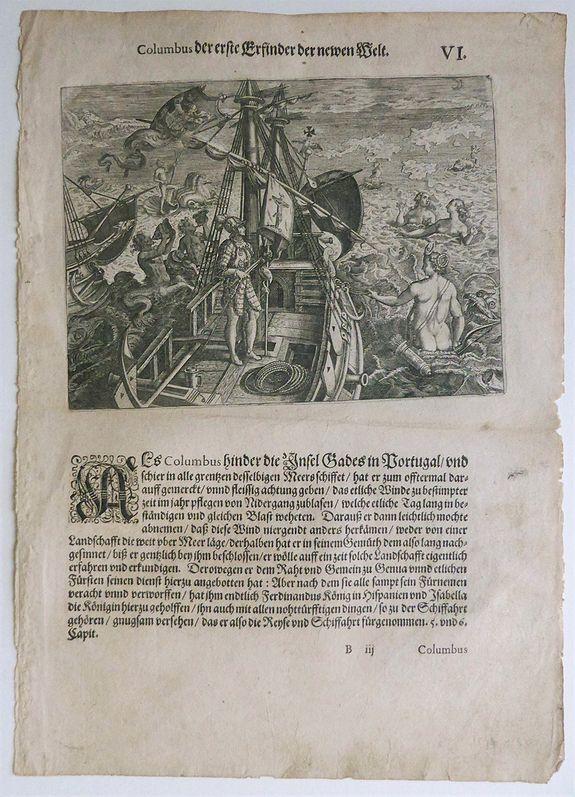 DEBRY, Theodor - Columbus der erste Erfinder der Newem Welt........  VI -  Columbus, the First Inventor of the New World.