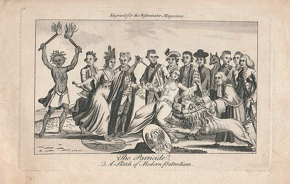 ANONYMOUS - The Parricide. A Sketch of Modern Patriotism. Westminster Magazine, vol. IV, 1st May 1776.