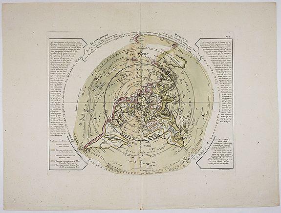 DEZAUCHE, J. A. - Planisphere Physique ou l'on voit du Pole Septentrional ce que l'on connoit de Terres et de Mers Avec les Grandges Chaines de Montagnes …
