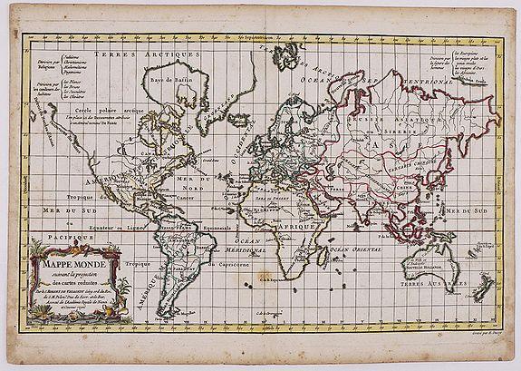 VAUGONDY, G. R. - Mappe Monde suivant la projection des cartes reduites.