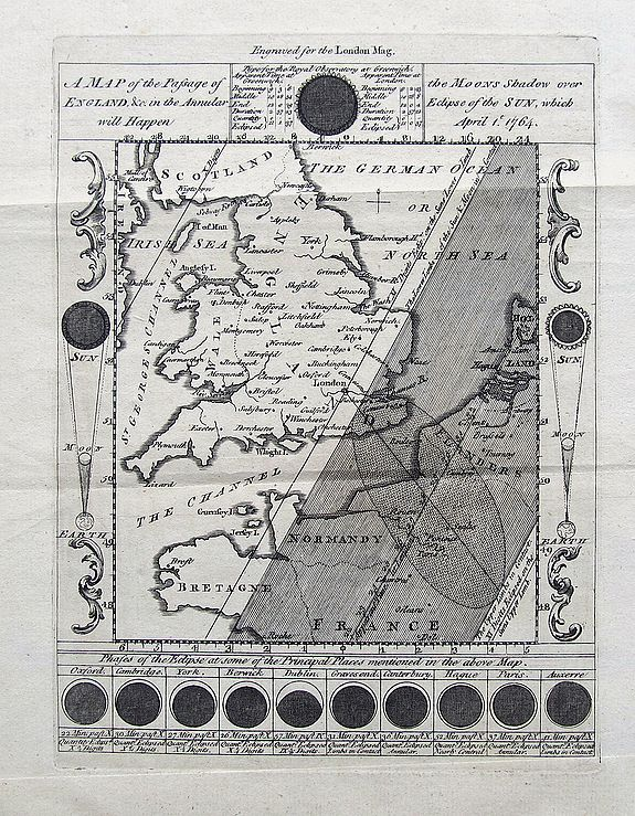 UNKNOWN. - A Map of the Passage of the Moons over England &c in the Annular Eclipse of the Sun, which will happen April 1st 1764.