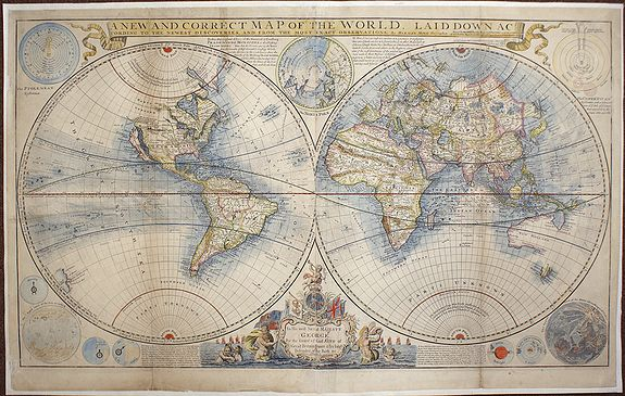 MOLL, Herman - A new and correct map of the world, laid down according to the newest discoveries, and from the most exact observations, by Herman Moll, Geographer.