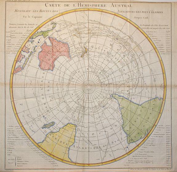 COOK, J. - Carte de L'Hemisphere Austral . . .
