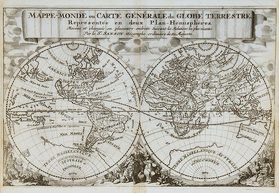 SANSON, N. / HALMA, F. - Mappe-Monde ou carte générale du Globe Terrestre.