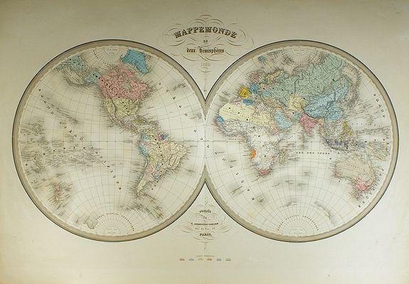 ANDRIVEAU-GOUJON, E. - Mappemonde en deux hémisphères.