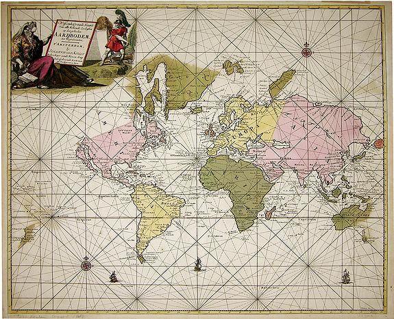 VAN KEULEN, J. - Wassende graade kaart van alle bekende zeekusten op den geheelen aardbodem. . .